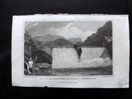 Gallery of Nature 1818 Antique Print. Fall of Rhine, Schaffhausen, Switzerland